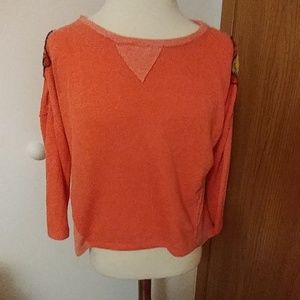 XL Coral sweater with beaded shoulders